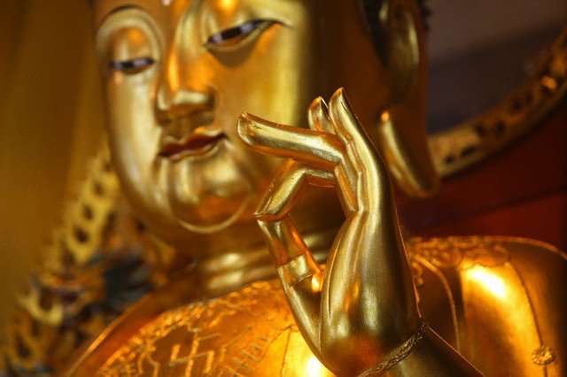 10 Jan 2011, Hong Kong, China --- Po Lin Monastery.  Medicine Buddha statue in main Hall. --- Image by © Pascal Deloche/Godong/Corbis